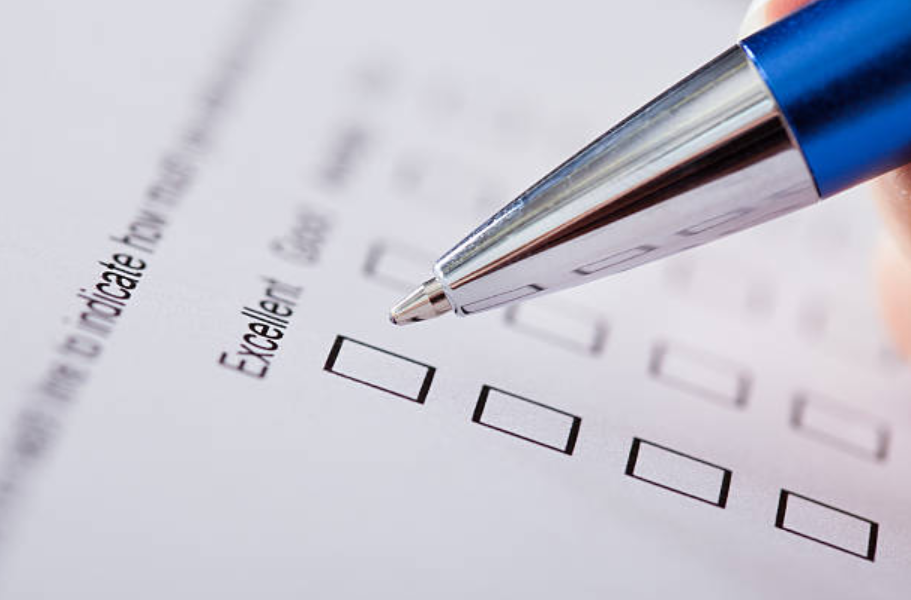 stock photo of person taking a questionnaire